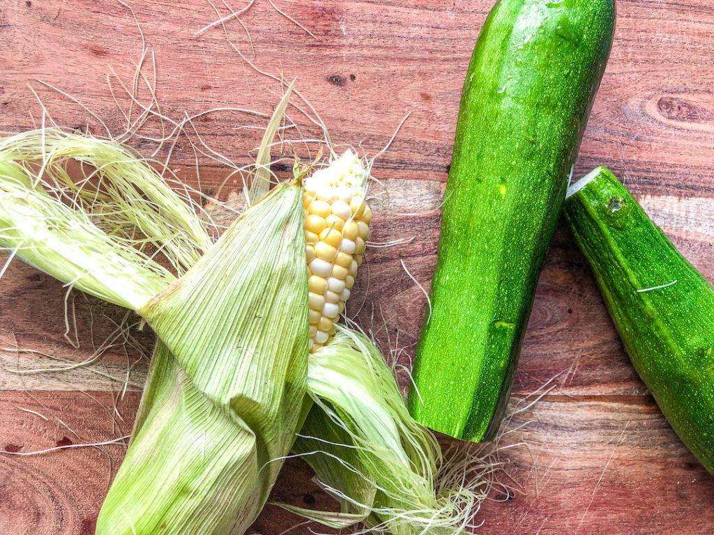 fresh corn and zucchini